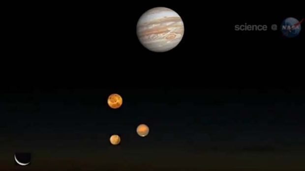 In this screegrab from a NASA video, the four planets align.