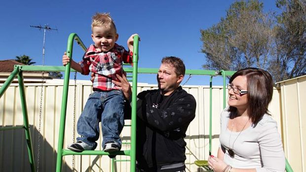 Dave and Jodie Hadfield, with Cayden, 2, say they may delay a second child for financial reasons.