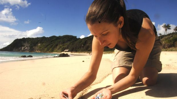 Dr Jennifer Lavers gathers plastic fragments on Lord Howe.