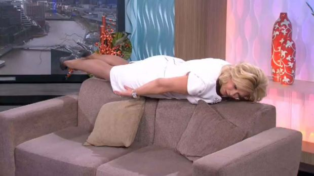 "Kerri-Anne Kennerley ""planking"" on her morning show."