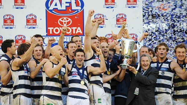 Mr Geelong: Bob Davis, scene-stealer extraordinaire at the Cats' premiership cup presentation in 2009.