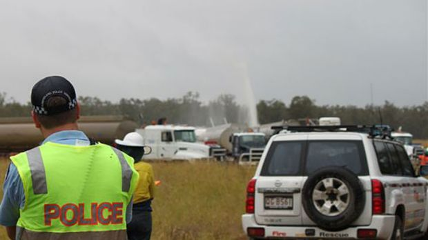 Gas and water leaking from a well near Dalby today.