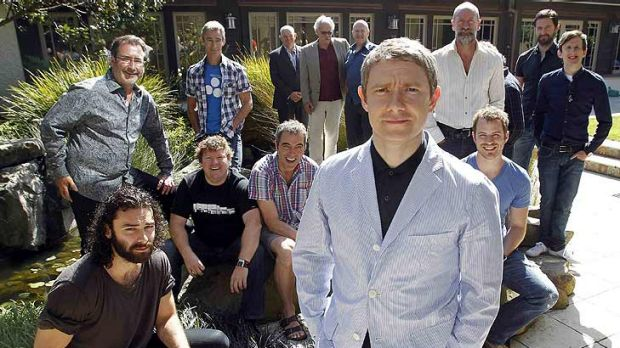British actor Martin Freeman (front) poses with cast members of Peter Jackson's two-part film The Hobbit, where an ...