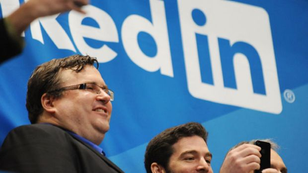 LinkedIn founder Reid Garrett Hoffman (L) and CEO Jeff Weiner just before ringing the opening bell of the New York Stock ...