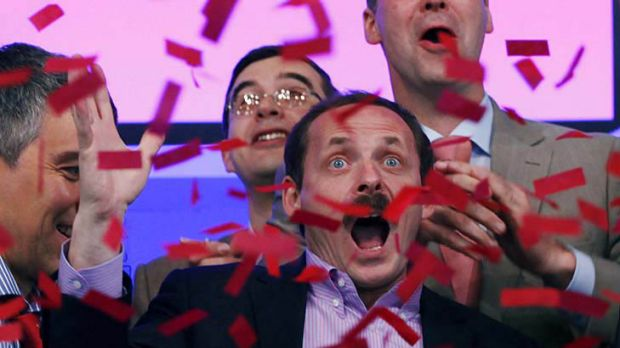 Arkady Volozh, CEO of Yandex, celebrates the initial public offering at the Nasdaq MarketSite, Tuesday, May 24, 2011 in ...