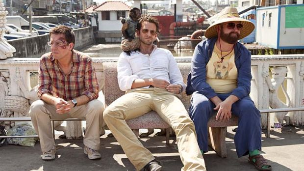 Are we having fun yet?: Ed Helms (left), Bradley Cooper and Zach Galifianakis return for a repeat performance in ...