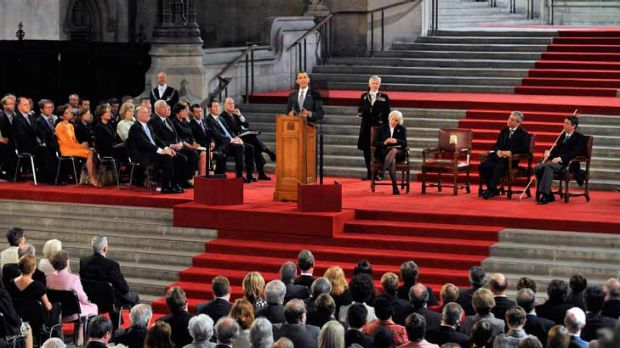U.S. President Barack Obama delivers a speech to both Houses of Parliament during the second day of his state visit in ...