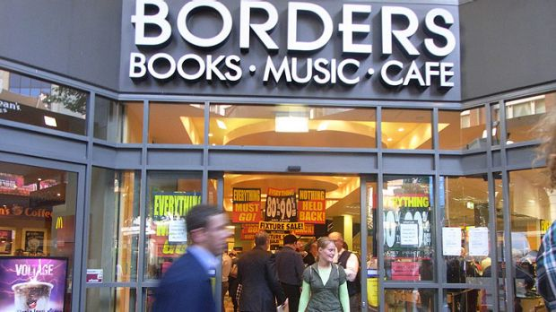 Last-minute bargains ... shoppers pack Borders yesterday.