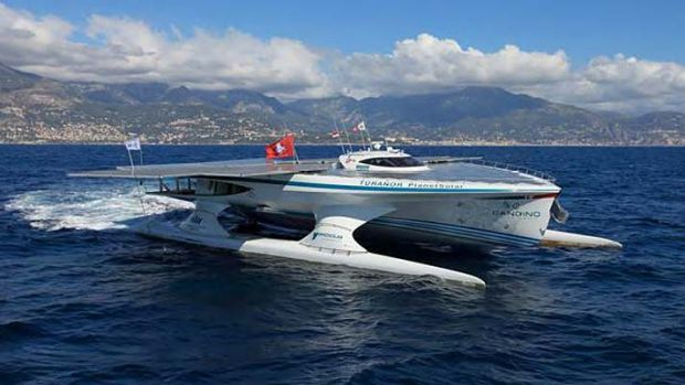 The $16.7 millionTuranor PlanetSolar heads out to sea.