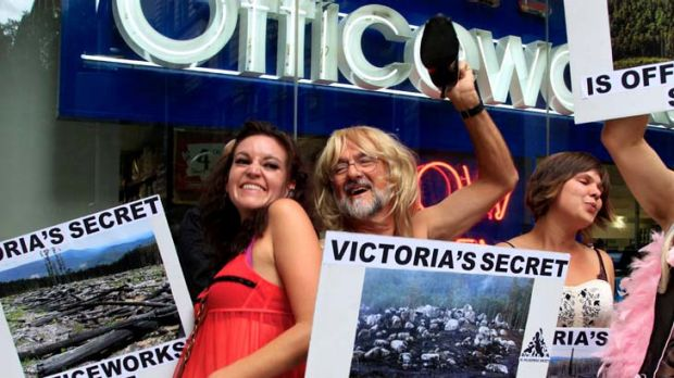 Wilderness Society protesters dressed in 'Victoria's Secret' lingerie earlier this month to expose Victoria's 'dirty ...