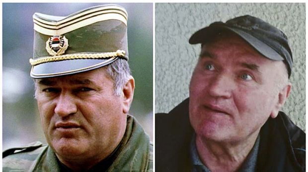 Radko Mladic in 1993 and after his arrest on May 26.