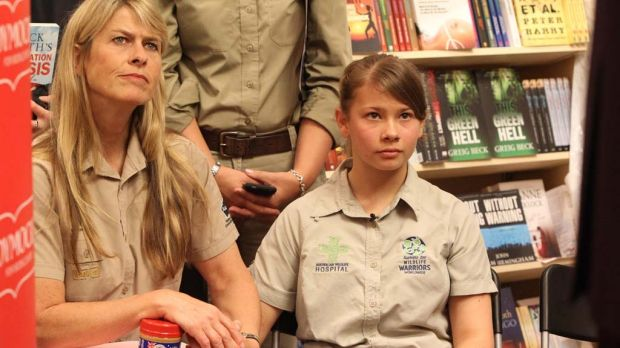 Bindi Irwin with her  mother Terri Irwin.  at the launch of Dick Smith's new book.