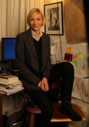 Cate Blanchett photographed in her office at the Sydney Theatre Company.