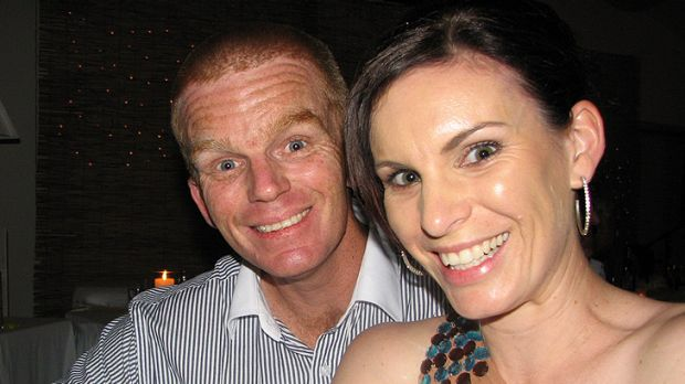 Senior Constable Damian Leeding with his wife, Sonya, in this photo supplied by the Leeding family.
