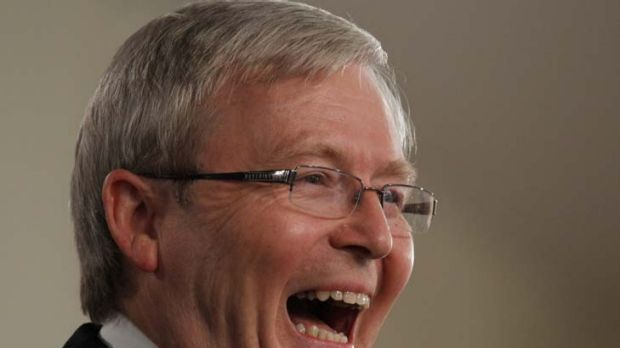 Kevin Rudd addresses the National Press Club in Canberra yesterday, having taken the place of fellow Labor frontbencher ...