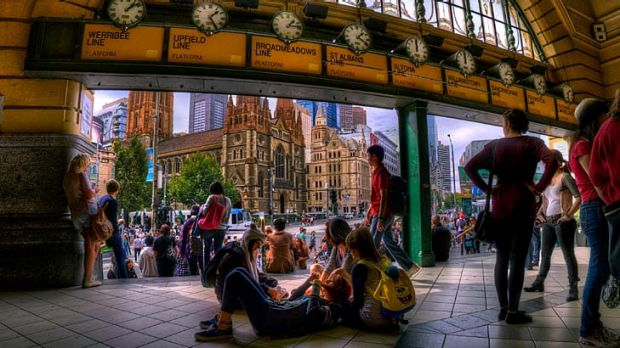 Melbourne as seen in high dynamic range photography. Every photographer's dream shot, looking out from under the ...