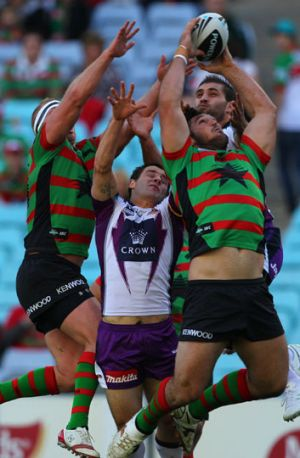 Up an' at 'em ... Souths forward Dave Taylor gathers a kick to score his disallowed try yesterday.