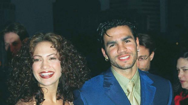 Snake ... Jennifer Lopez and Ojani Noa at the premiere of her film Anaconda in 1997.