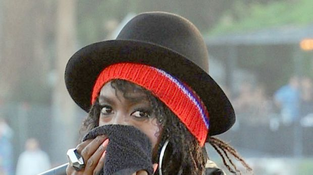 Baby crazy ... pregnant Lauryn Hill plays the Coachella Music Festival in April.