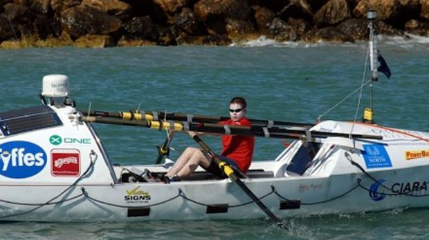 Keith Whelan in the boat he hoped would take him across the Indian Ocean.