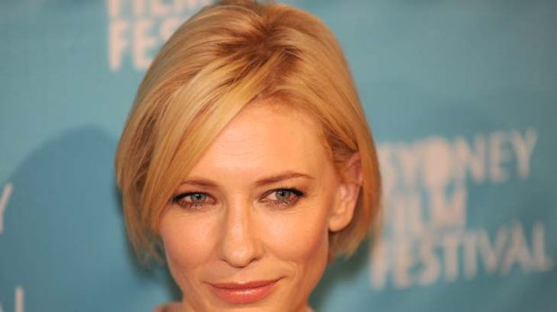 Serene last night, but an icy-eyed, orange-haired intelligence operative on screen ... Cate Blanchett.
