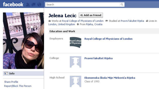 Stolen identity ... a grab from Jelena Lecic's Facebook page.