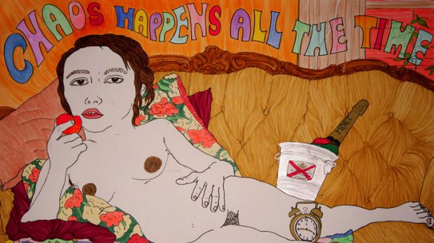 Birth.art includes works both comical and confronting, such as Arlene Texta Queen's <i>Chaos Happens All The Time</i>.