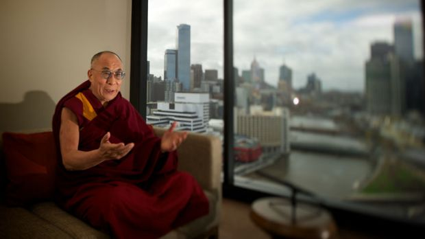 No sightseeing: the Dalai Lama offers sage words on his arrival in Melbourne yesterday.