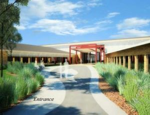 Artist's impression of planned women's correctional facility. The entrance.
