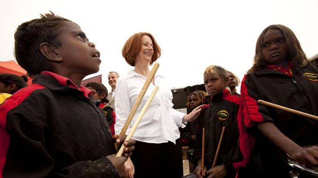 Julia Gillard this week with members of the Alice Springs children's drumming group.