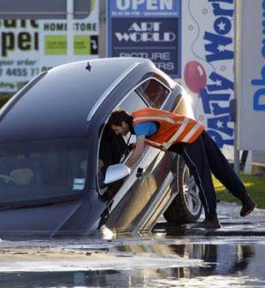 A motorist strikes trouble in suburban Ferrymead.