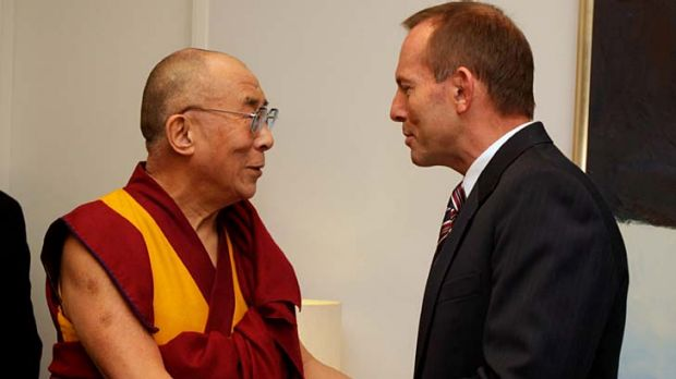 The Dalai Lama meets Opposition Leader Tony Abbott at Parliament House in Canberra.