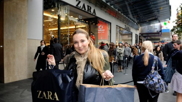A brand new bag: Snez Atanasovska of Mill Park was among the early shoppers at the newly opened Zara store yesterday.