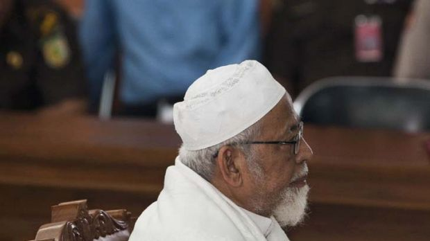 Reality bites ... Abu Bakar Bashir listens to judges deliver their verdict in a Jakarta court yesterday.