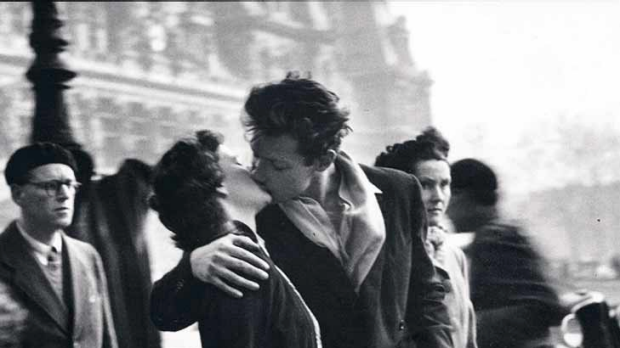 Posed ... a photo taken by Robert Doisneau outside Paris city hall in 1950 featuring Francoise Bornet and Jacques ...