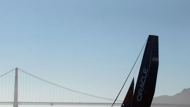 Next stop, Alcatraz ... James Spithill helps trial a wing-sailed AC45 on San Francisco Bay, where the America's Cup ...