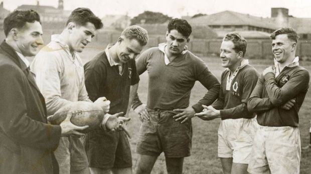 Brothers in arms ... Rex Mossop, second from left and Dave Brockhoff, third from left at Wallabies training at the SCG ...