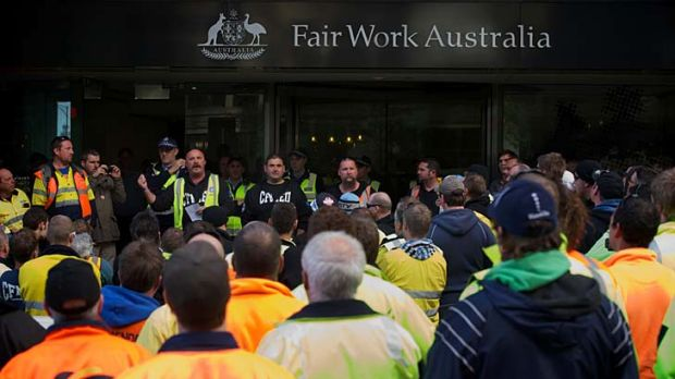 Construction workers at the Wonthaggi desalination plant in Melbourne for the Fair Work Australia ruling on their ...