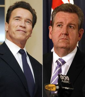Following in Arnie's footsteps ... Barry O'Farrell proposes examining the recall election option that helped Arnold ...