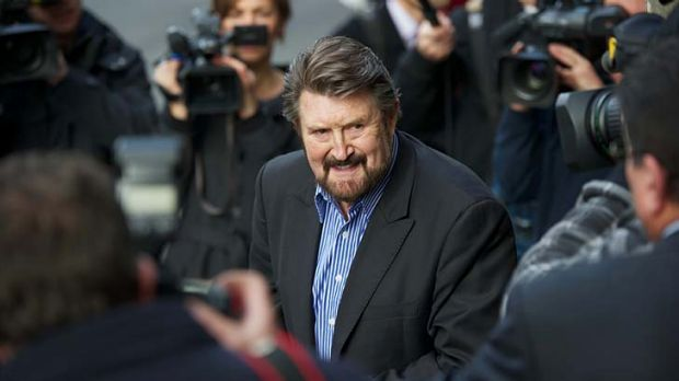 3AW's Derryn Hinch outside the Melbourne Magistrates Court in June.