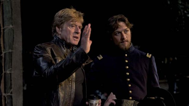 Director's cut ... Robert Redford and James McAvoy on the set of The Conspirator, in cinemas from July 28.