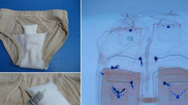 Nowhere to hide ... a backpack and underwear that could be used to smuggle explosives.