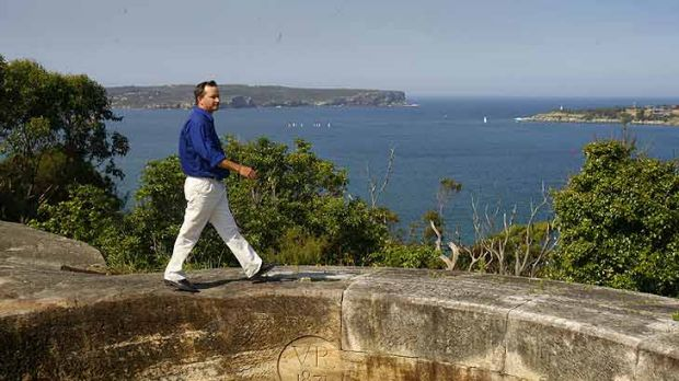 Georges Head lookout ... Geoff Bailey of the Sydney Harbour Federation Trust in 1996.