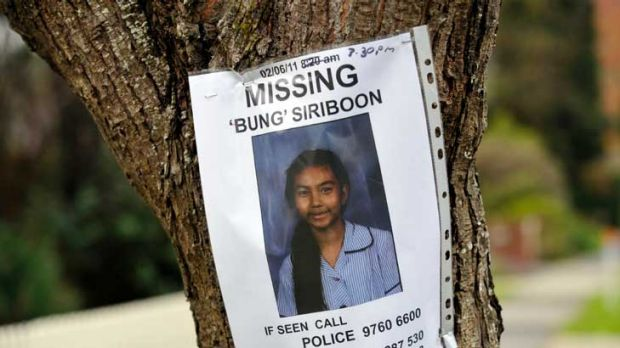 A poster appealing for information about the disappearance of Siriyakorn Siriboon in Boronia.
