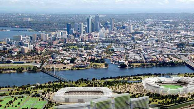 Artist impression of a stadium at Burswood (put together by a previous Labor government).