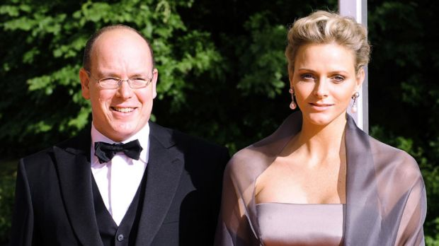 Dashing couple ... Prince Albert and Charlene Wittstock in Stockholm for Princess Victoria's wedding last year.