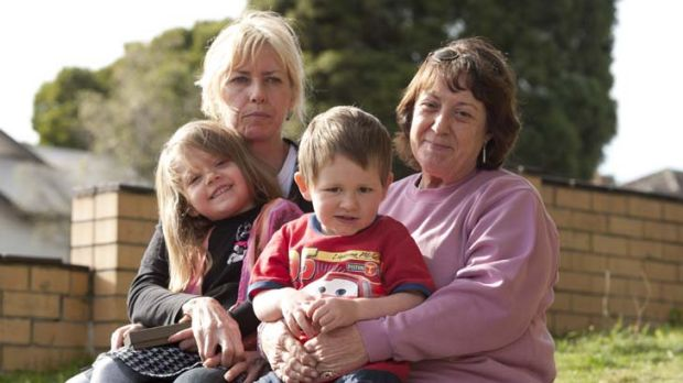 Five-year-old Monique  with grandmother Debbie Johnston and three-year-old Jack with grand mother Yvonne Richards ...