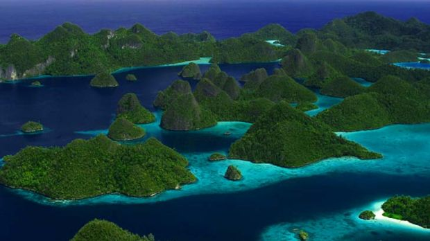 Strong currents that rush between the islands of West Papua's Raja Ampat (pictured) help seed much of the 1.6 billion ...