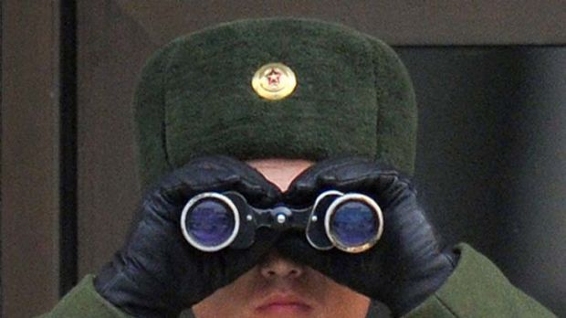 On watch ... a North Korean soldier looks south.