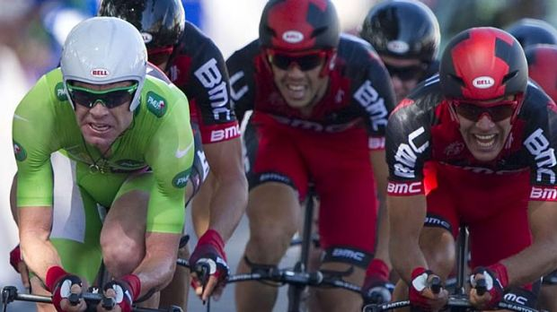 Cadel Evans with his BMC teammates during last year's Tour.